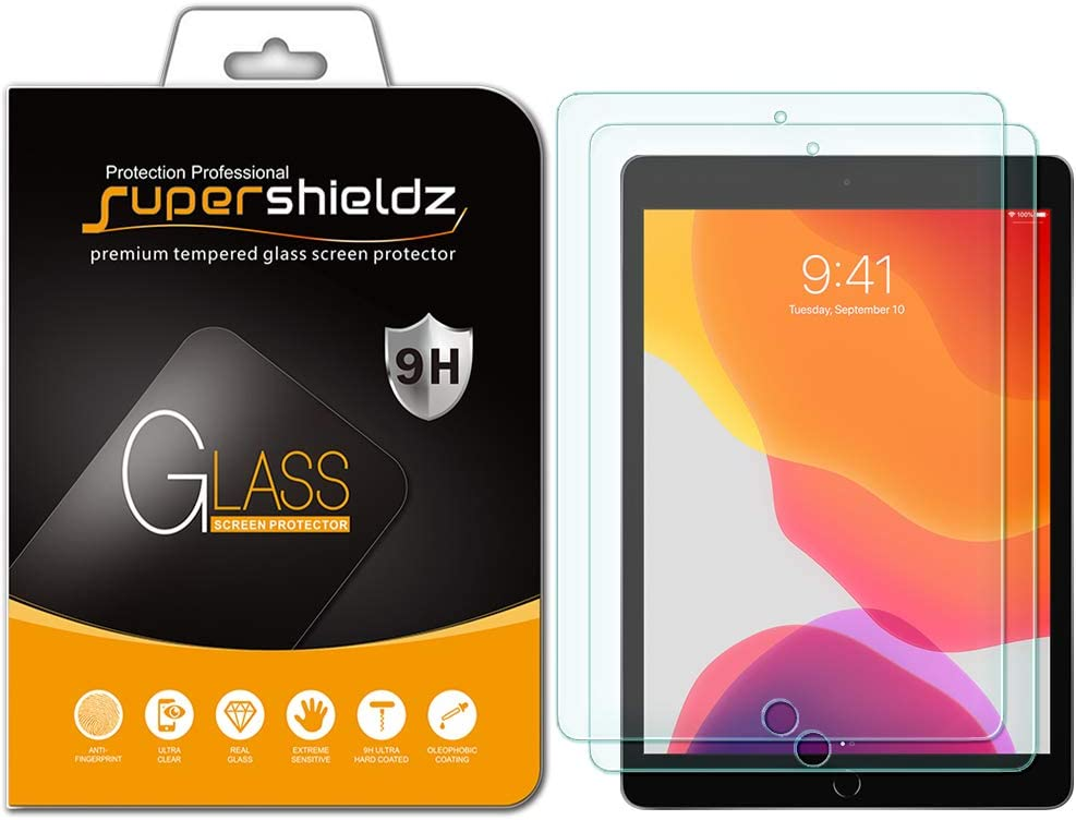 (2 Pack) Supershieldz for Apple New iPad 10.2 inch (2019, 7th Generation) Screen Protector, (Tempered Glass) Anti Scratch, Bubble Free 617CLISz89L