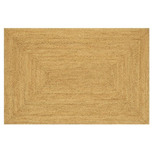 Acura Homes Natural Jute Collection Transitional Style Rectangular Area Rug, 5' x 8', Natural