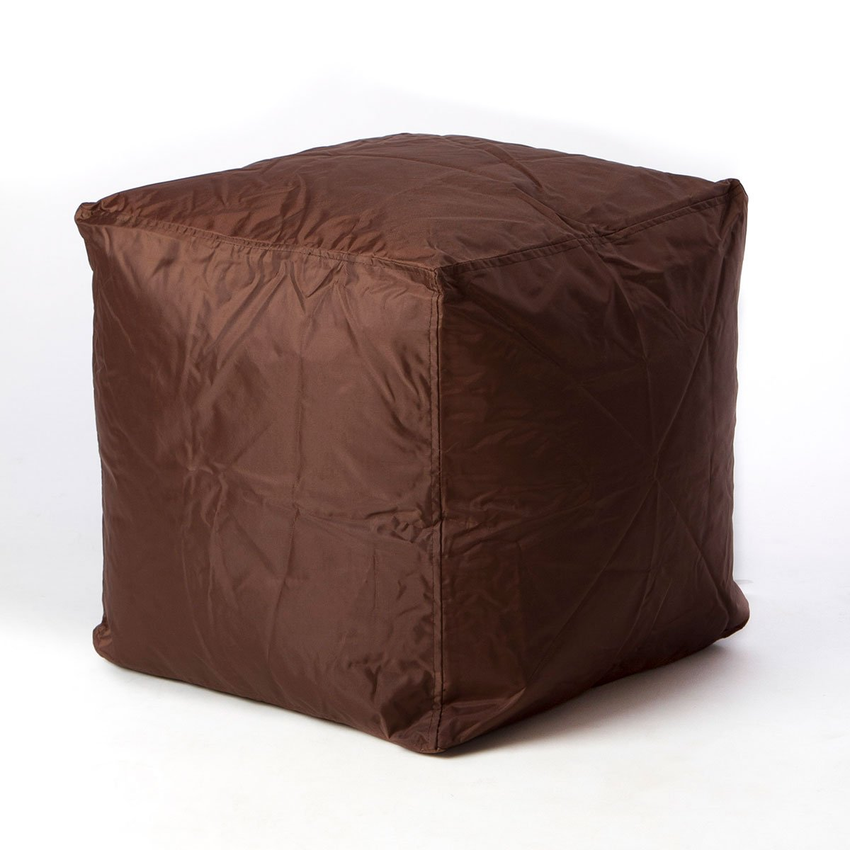 Bean Bag Cube Ottoman Footstool (Brown) | | Nylon Fabric - Hand Filled in the USA | 16 x 16 x 16 inches |