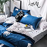 KFZ Bed Set Bedding Set Duvet Cover Set Bed Flat Sheet Pillow Covers No Comforter Twin Full Queen King Sheets Set KY Polar Bear Sky Star Design 4pcs for Kids Adults (Polar Bear, Blue, Full 70'x86')