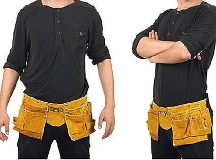 Cinturón para herramientas Bolso portaherramientas Soldador Soldadura Cinturón de piel con bolsillos