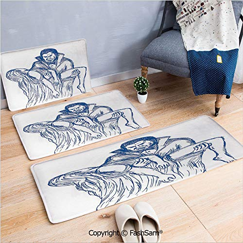 FashSam 3 Piece Non Slip Flannel Door Mat Count Dracula in Cape Carrying His Prey Victim Woman Sketchy Halloween Artwork Indoor Carpet for Bath Kitchen(W15.7xL23.6 by W19.6xL31.5 by W15.7xL39.4)