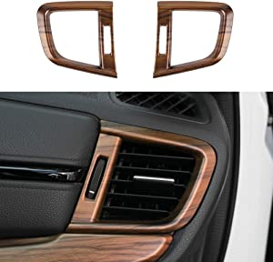 Thenice for CRV Air Vent Trims Side Wind Outlet Decoration ABS Peach Wood Grain Dashboard Stickers for Honda CR-V 2017 2018 2019 2020
