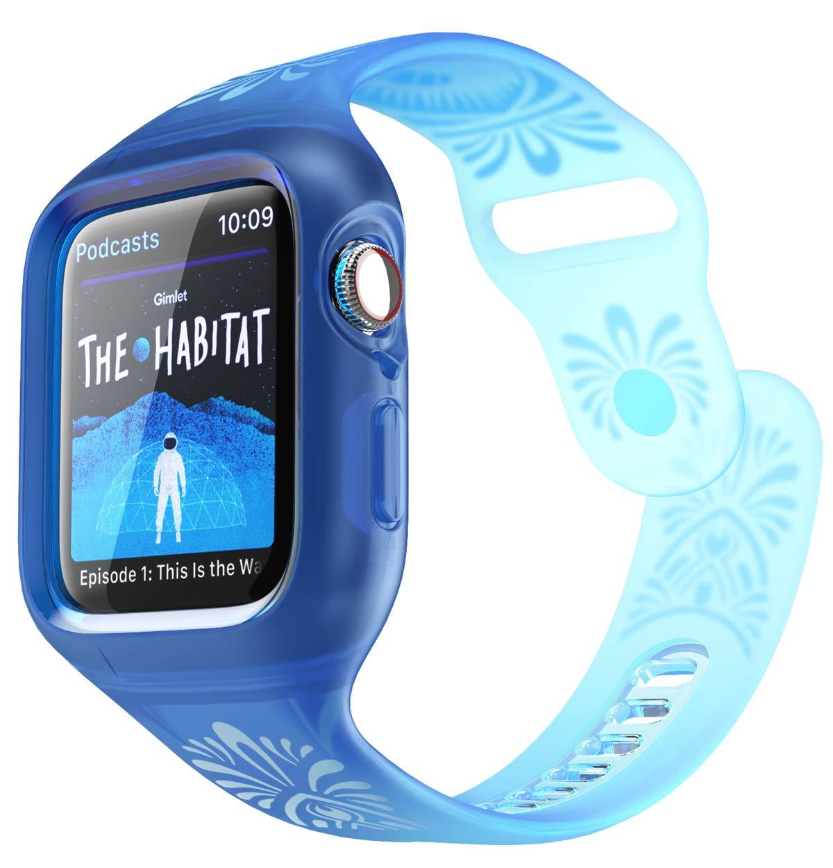 i-Blason Bands Designed for Apple Watch 44mm Series 4, Flora Series Premium Hybrid Bumper Protective Case for Apple Watch 44 mm 2018 Release (Navy) by i-Blason