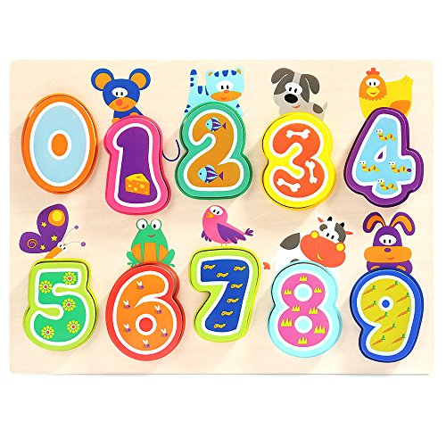 Numbers Wooden Puzzles for Toddlers - TOP BRIGHT Classic Educational Wooden Toys