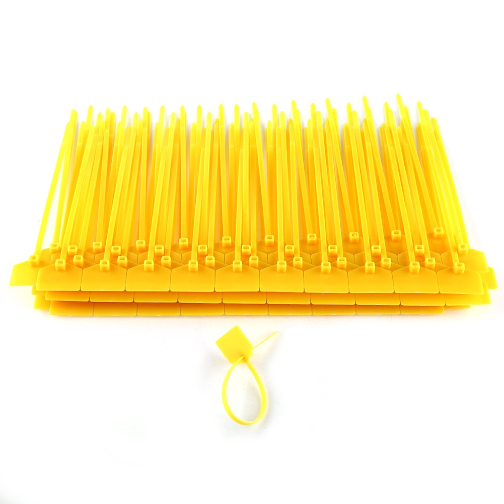 100pcs 4 x 160mm Maker Nylon Cable Ties Colorful Wire Zip Ties Cable Mark Tags Nylon Power Marking Label (yellow)