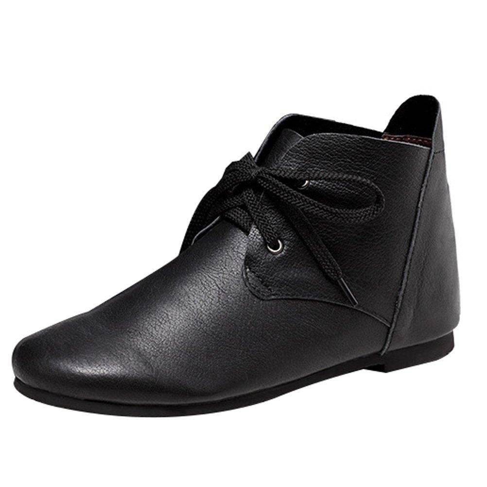 Vogstyle Botas de Cuero Para Mujer Nuevos Zapatos PlanosEU37-37.5/CH38|Estilo 2 Negro