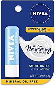 NIVEA Kiss of Smoothness Hydrating Lip Care, SPF 15, 0.17 Ounce (Pack of 8)