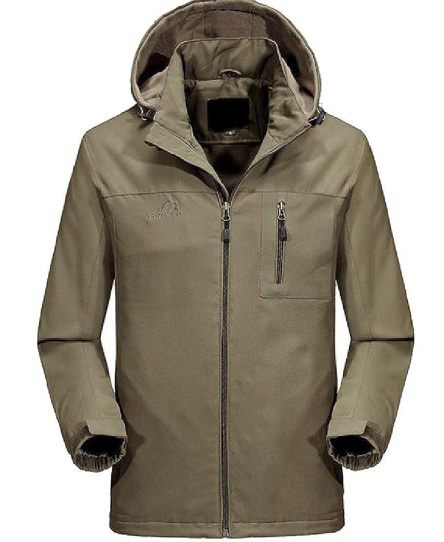 Khaki Comfy-Men Plus Plus Plus Velvet Thicken Long Sleeve Pocket Zipper Outwear Fleece Jacket d484f2