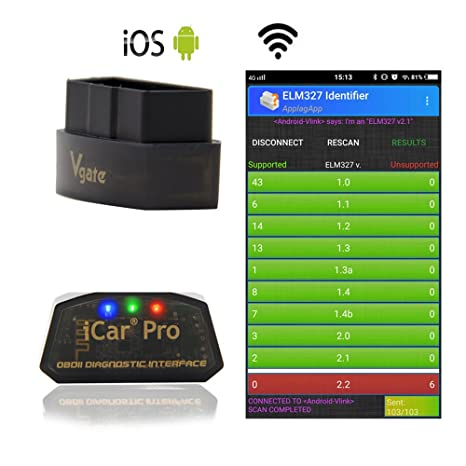 LZLRUN Vgate iCar Pro WiFi OBD2 Scanner for Android/iOS Car Diagnostic Tool  ELM327 V2 1 iCar Pro WiFi Scanner (WiFi for iPhone ipad and Android)