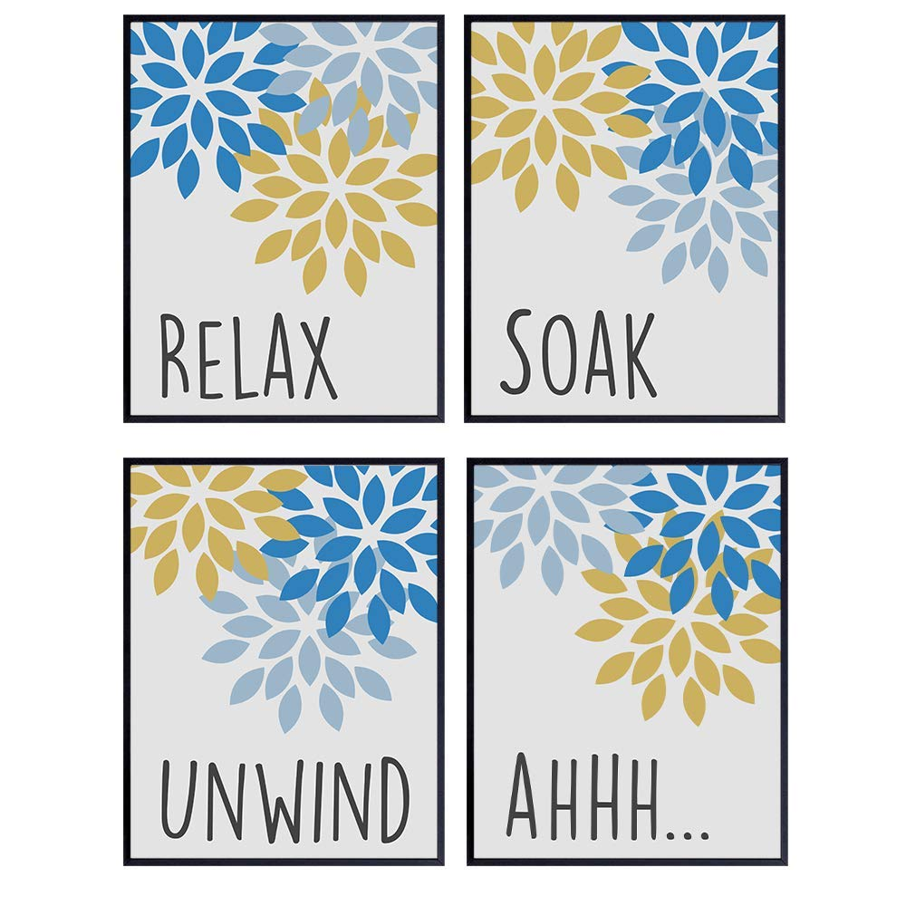 Relax Soak Unwind Wall Art Bathroom Decorations - Teal Blue Yellow Restroom Signs - Powder Room, Guest Bath Wall Decor - Bathroom Decor for Women - Housewarming Gift - 8x10 Poster Picture Set