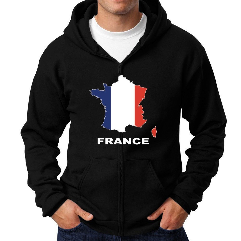 - - - Teeburon France Country Map color Zip Hoodie 3e1d88