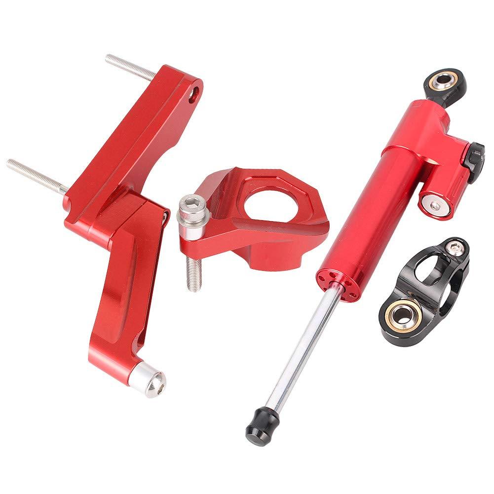 Newsmarts Aluminum Steering Damper Set Steering Damper Stabilizer with Bracket Fits Suzuki GSXR 600 750 2001 2002 2003 2004 2005