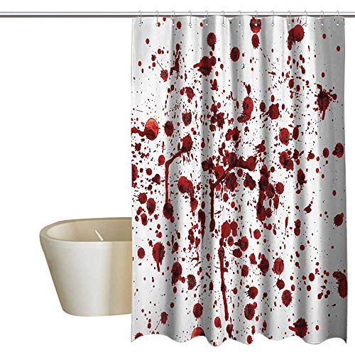 MaryMunger Bloody Home Decor Shower Curtain Splashes of Blood Grunge Style Bloodstain Horror Scary Zombie Halloween Themed Print Art Print Polyester W72 x L84 Red White
