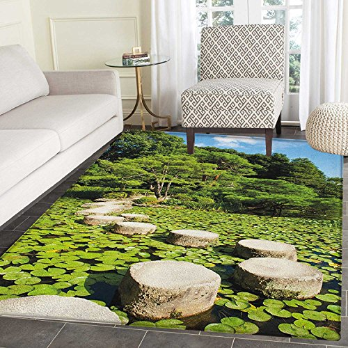 Lotus Garden Rug - Zen Area Silky Smooth Rugs Stone Path in Japanese Garden Lake with Lotus Leaves Meditation Nature Scenery Floor Mat Pattern 2'x3' Lime Green Sky Blue