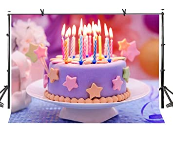 LYLYCTY 7x5ft Birthday Cake Backdrop Burning Candle Photography Background And Studio Props