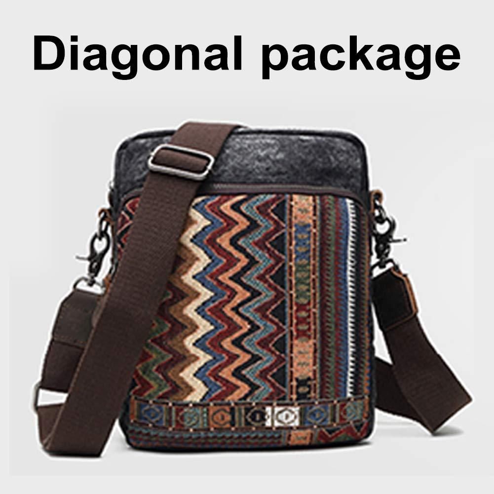Yoome National Wind Canvas Messenger Shoulder Bag for Men and Women Vintage Crossbody Bag