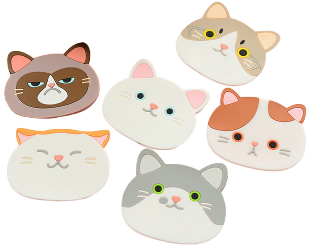 Wheelsp 6 Pack Cartoon Animal Silicone Coasters Cute Cat Cup Mat Non Slip Heat-Resistance Coaster For Wine,Glass,Tea-Best Housewarming Beverage,Drink