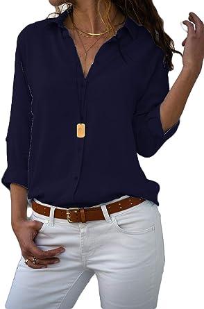 MISSLOOK Camisas con botones para mujer, blusa de manga ...