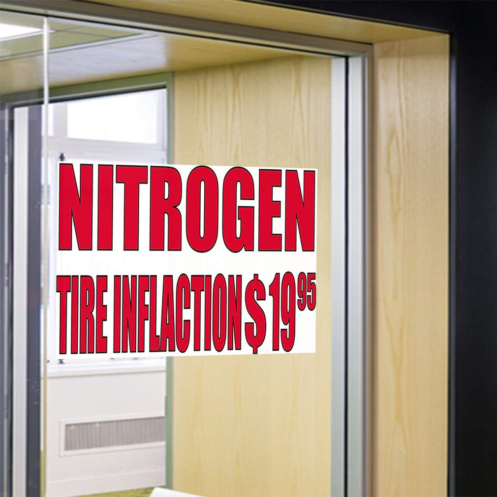 54inx36in Set of 2 Decal Sticker Multiple Sizes Nitrogen Tire Inflation $1995#2 Business Nitrogen Outdoor Store Sign White