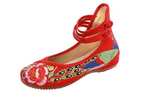 ecd8f164 BOZEVON Zapatos para Mujer de la Lona del Bordado de Las Señoras Mary Jane  Ligero de la Correa Sandalias Rojo Negro Azul: Amazon.es: Zapatos y  complementos