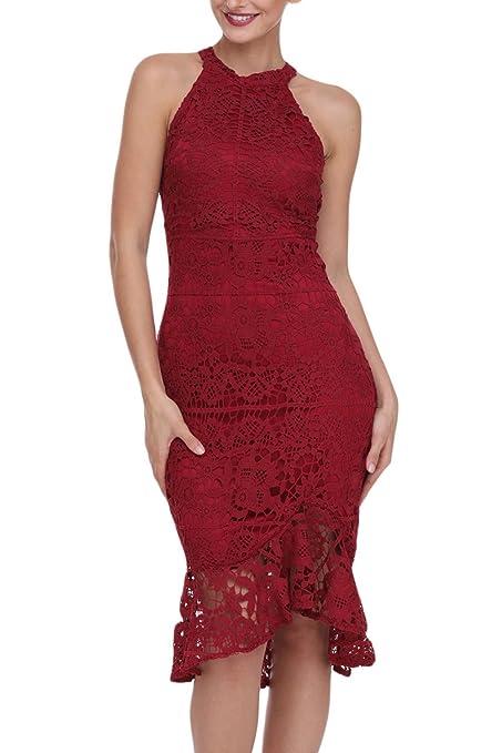 Nuevo color rojo sin mangas Lace Fishtail vestido corto vestido de noche Club wear de para