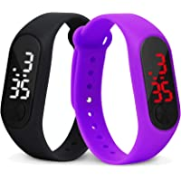 Time Up Combo of 2 Extremely Thin Waterproof Bullet-Shape Design Digital LED Kids Watches for Boys & Girls-OLED-Black