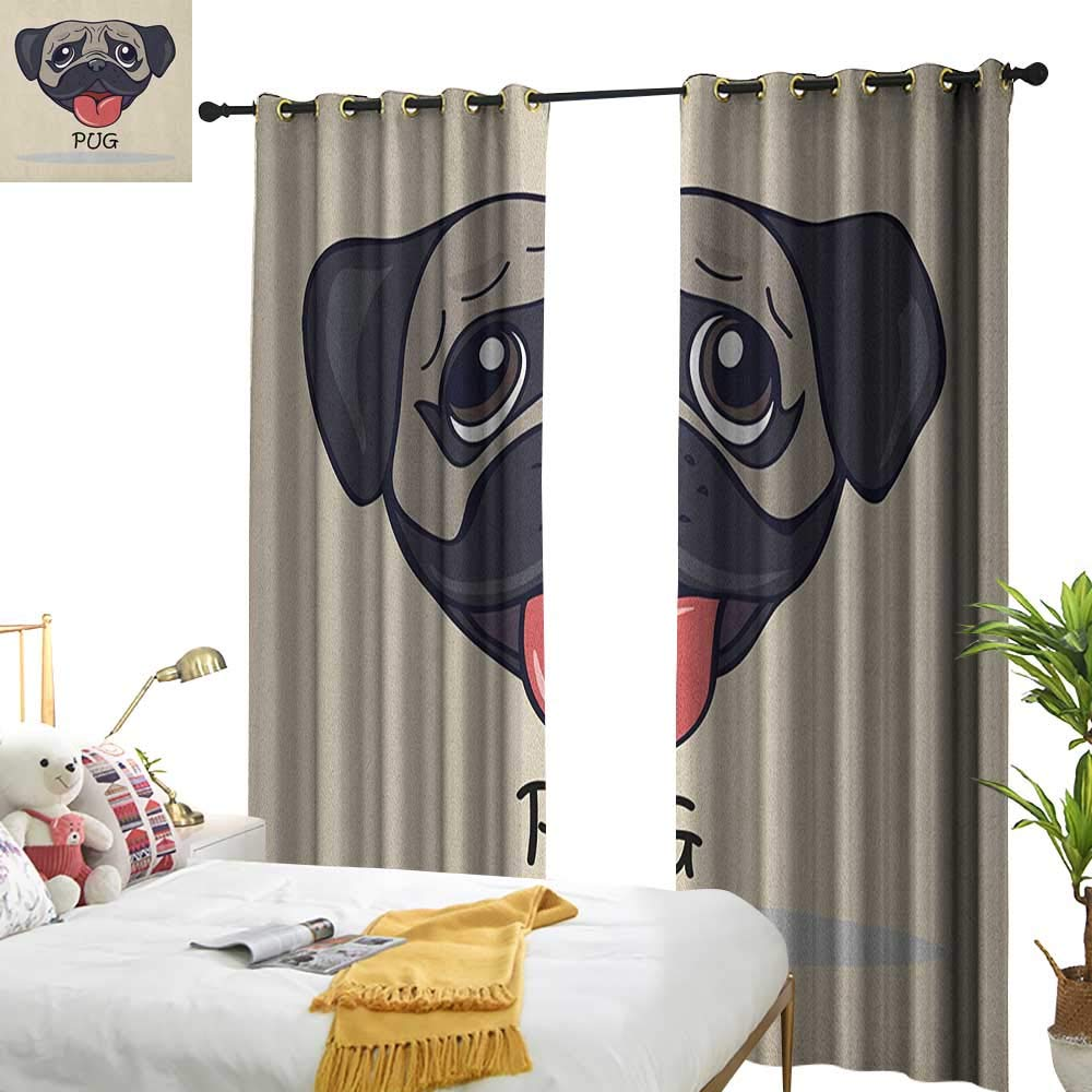 color09 W96\ Pug Blackout Draperies for Bedroom Cartoon Pug Dog Caricature with Its Tongue Out Happy Face Animal Fun Illustration W96 x L84,Suitable for Bedroom Living Room Study, etc.