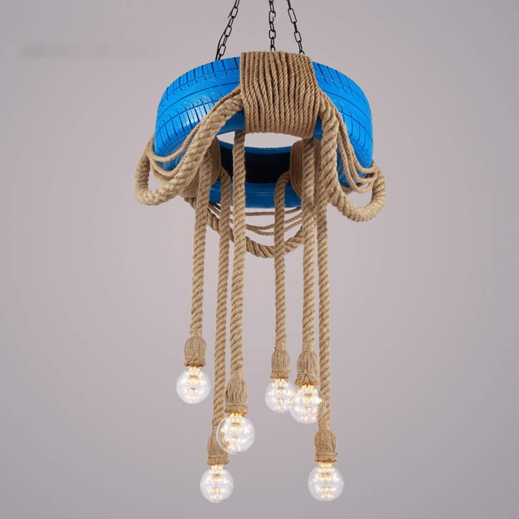 ホイールヘンプロープシャンデリアインダストリアルヴィンテージペンダントライト竹天井吊りランプ6 E27ソケットバーカフェレストランダイニングテーブルホームデコレーション用 (色 : イエロー いえろ゜) B07KFZ4FLY 青  青