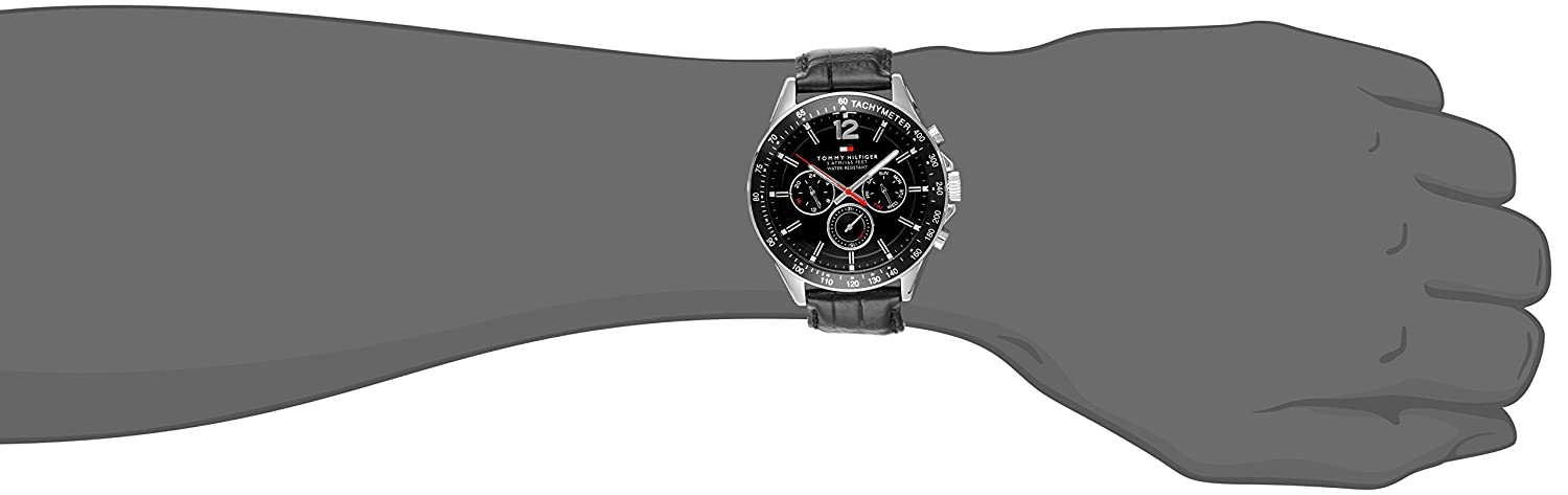 Tommy Hilfiger Men s 1791117 Sophisticated Sport Watch With Black Leather Band