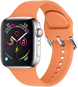 eCamframe Sport Watch Bands Compatible for Apple Watch Band 38MM 40MM 42MM 44MM, Soft Silicone Wristband Strap Compatible with iWatch SE, Apple Series/6/5/4/3/2/1 (Orange, 38mm 40mm-S/M)