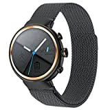 """ZENWATCH 3 Band,Oitom premium Woven Milanse loop stainless steel watch band strap for ASUS ZENWATCH 3 Smart Fitness Watch(Black Large 6.10""""-9.10"""")"""