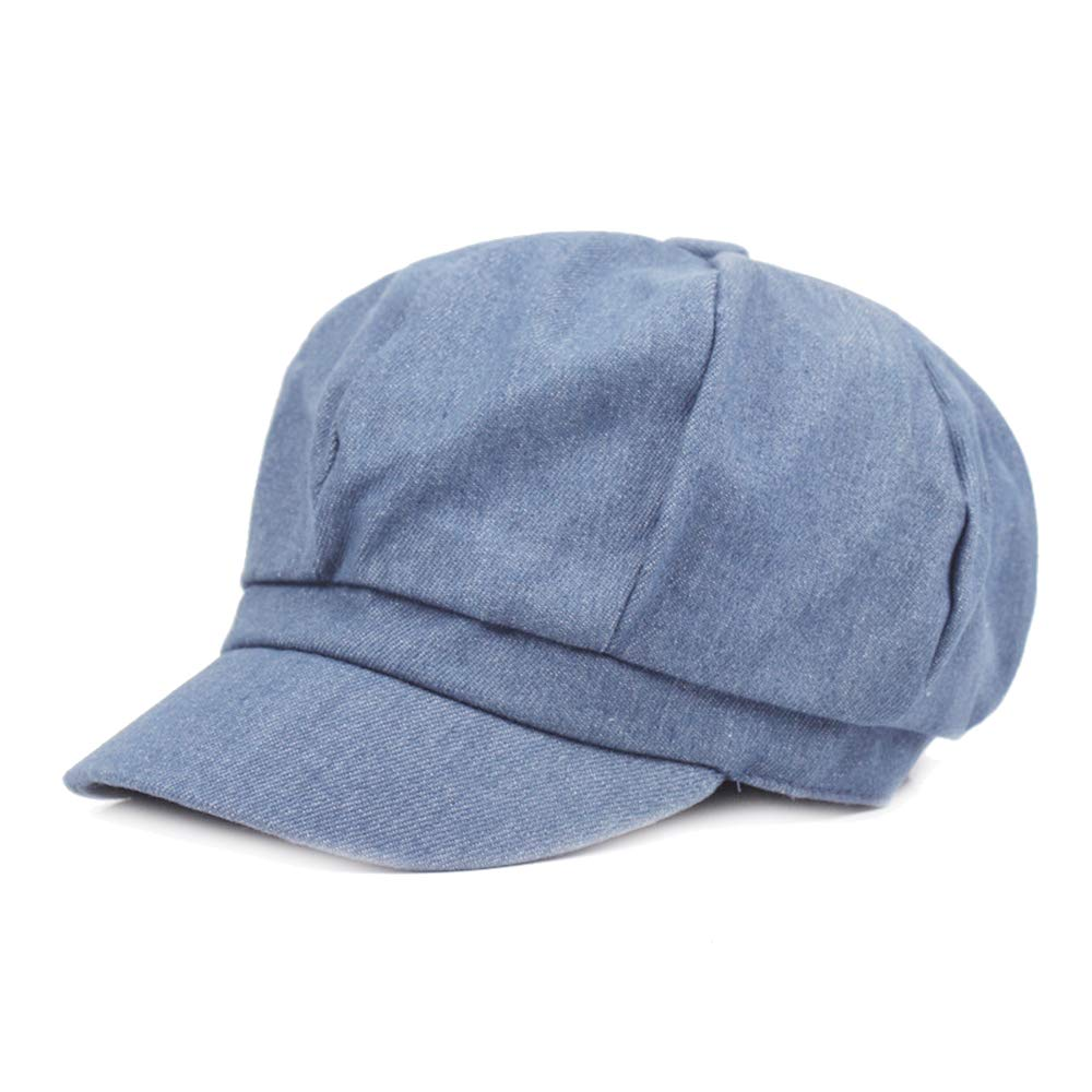 Opromo Women's Washed Denim Newsboy Gatsby Cabbie Hat Jean Berets Octagonal Cap-Denim Blue-48PCS by Opromo (Image #1)