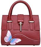 Pijushi Designer Handbag Butterfly Women's Genuine Leather Top Handle Cross Body Bag 8003(8003 Red)