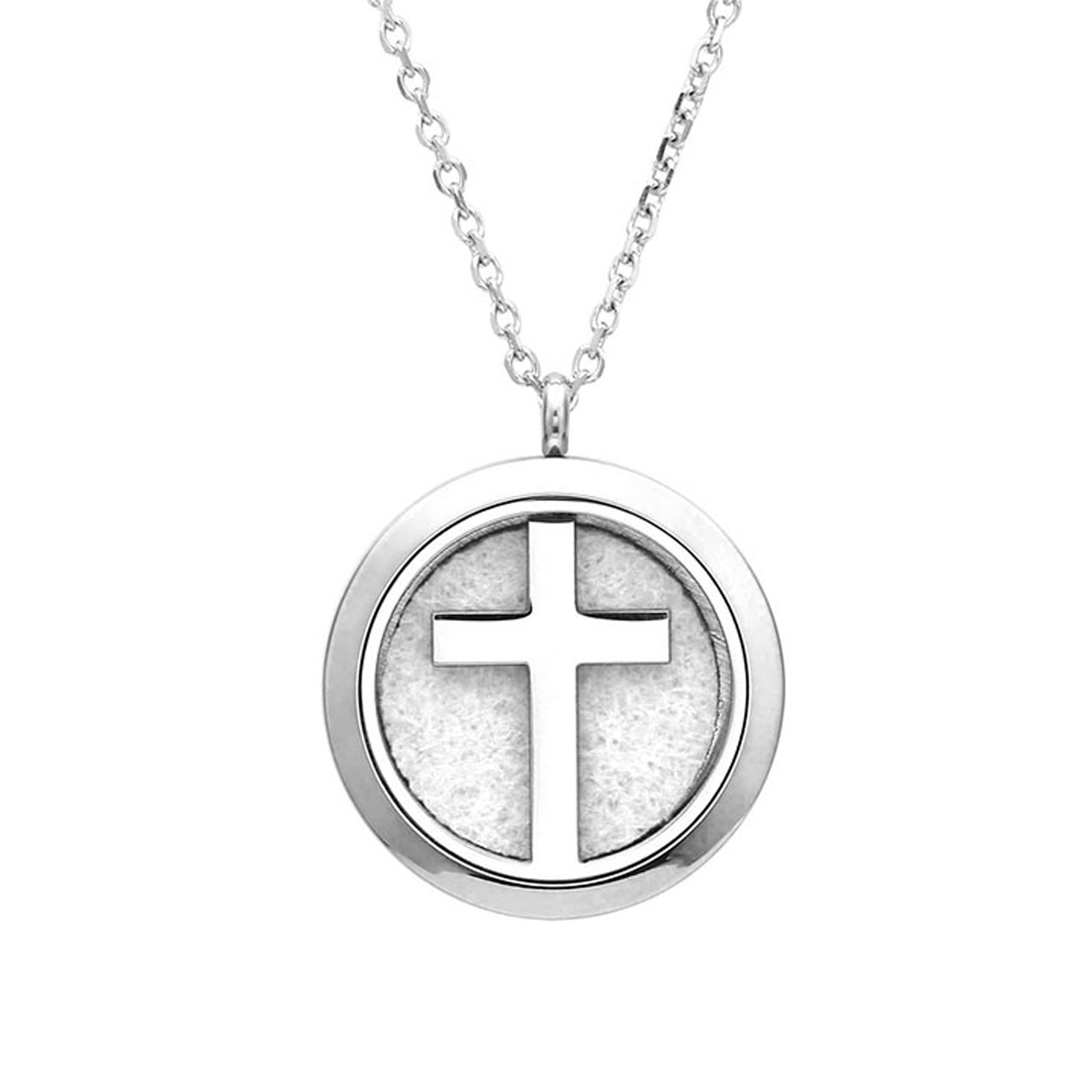 Zysta Essential Oil Diffuser Jesus Cross Necklace - Fragrance Aromatherapy Perfume Pendant Stainless Steel Locket with 6 Refill Pads and 24 Inch Chain