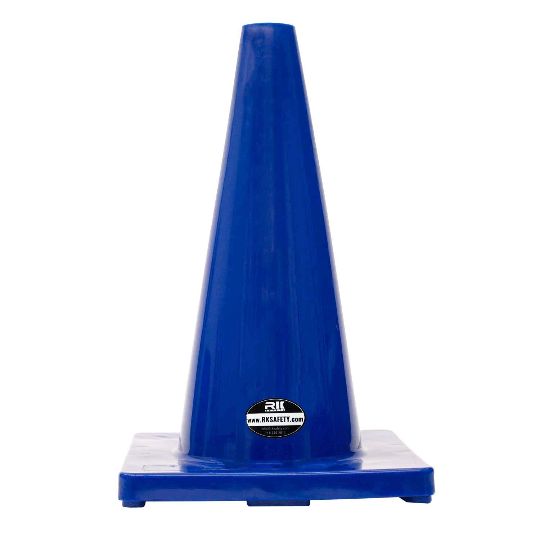 (Set of 6) 18'' RK Blue Safety Traffic PVC Cones, Blue Base.