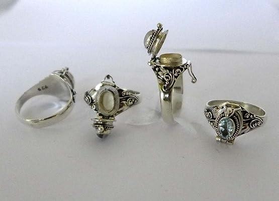 Poison Ring Bali Sterling Silver Locket Ring sky Blue Topaz December or March Birthstone AR04