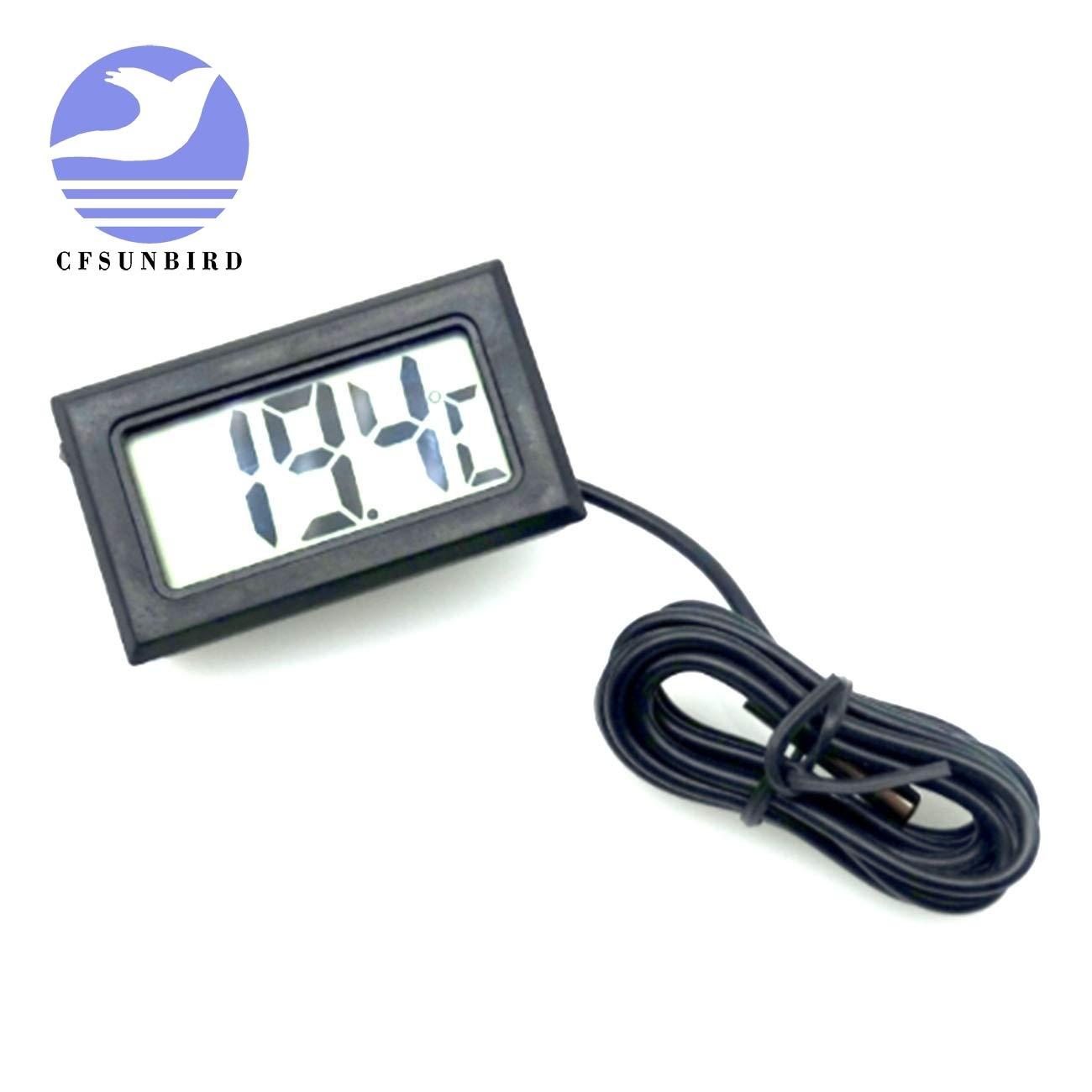Batcus CFsunbird Digital LCD Probe Fridge Freezer Thermometer Thermograph for Refrigerator 110C Black White