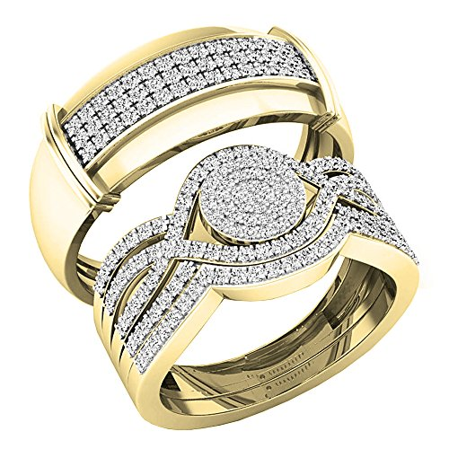 Gold Trio Set Ring - Dazzlingrock Collection 0.65 Carat (ctw) 10K Round White Diamond Men & Women's Engagement Ring Trio Set, Yellow Gold