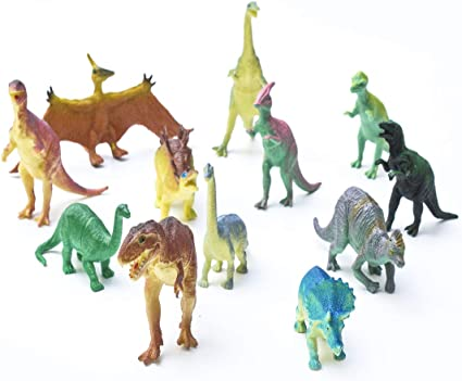 "12 pc Lot 5-7/"" Large Assorted Dinosaurs Toys Toy Dinosaur Figures Thick Plastic"