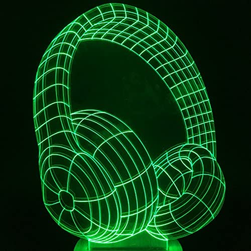 DJ HEADPHONES 3D Acrylic LED 7 16 Color Changing Night Light Touch Table Lamp