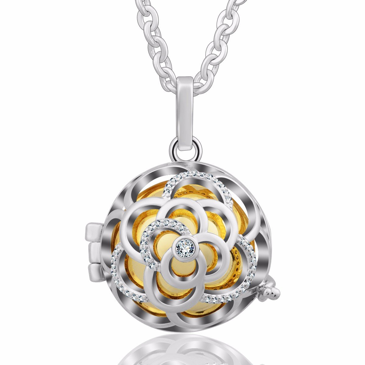 Eudora Harmony Bola CZ Zircon Vintage Angel Chime Pendant 20mm Musical Prayer Bell 30 Necklace White