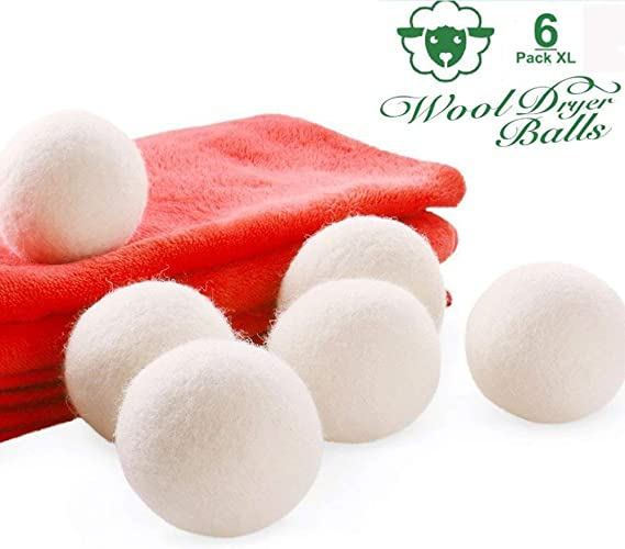 Luxbon 6 Pack XL White Felted Wool Clothes Dryer Balls 100/% Natural Organic New Zealand Reusable Wool Fabric Softener Wool Dryer Balls Save Drying Time /& Anti Static /& No Chemical /& Baby Safe