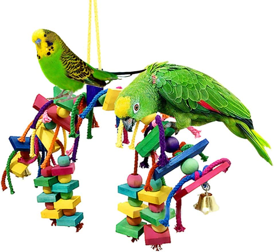Parakeets Colored Bird Toy Cotton Rope Knot Wood Block Gnawing Toy Hanging Swing Parrot Toy for Parrots Conures Finches Cockatiels Love Birds Macaws