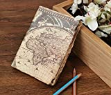 storeindya, Travel Diary Journal/Journals and diaries/Leather Diary Handmade Genuine Eco-Friendly Unlined Pages Compact Writing Journal for Men & Women (World Map Collection)