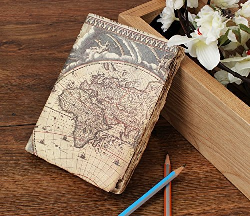 storeindya, Travel Diary Journal/Journals and diaries/Leather Diary Handmade Genuine Eco-Friendly Unlined Pages Compact Writing Journal for Men & Women (World Map (Cream Leather Finish)