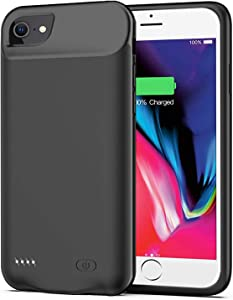 Battery Case for iPhone SE 2020/8/7/6s/6,6000mAh Slim Protective Portable Charging Case Rechargeable Extended Battery Pack for iPhone SE 2020/8/7/6s/6 (4.7 inch) Charger Case (Black)