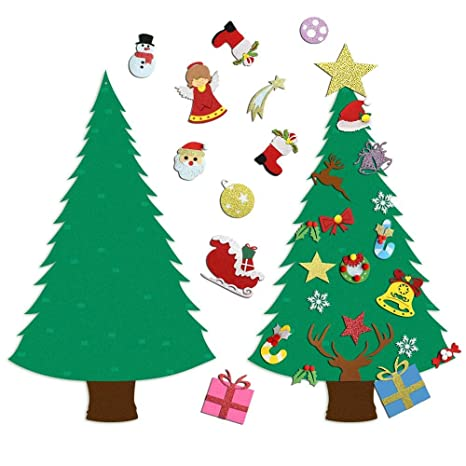 Ehugos DIY Fieltro Árbol de Navidad decoración - 28pcs Edición Glitter Desmontables Adornos Regalo Navideño para