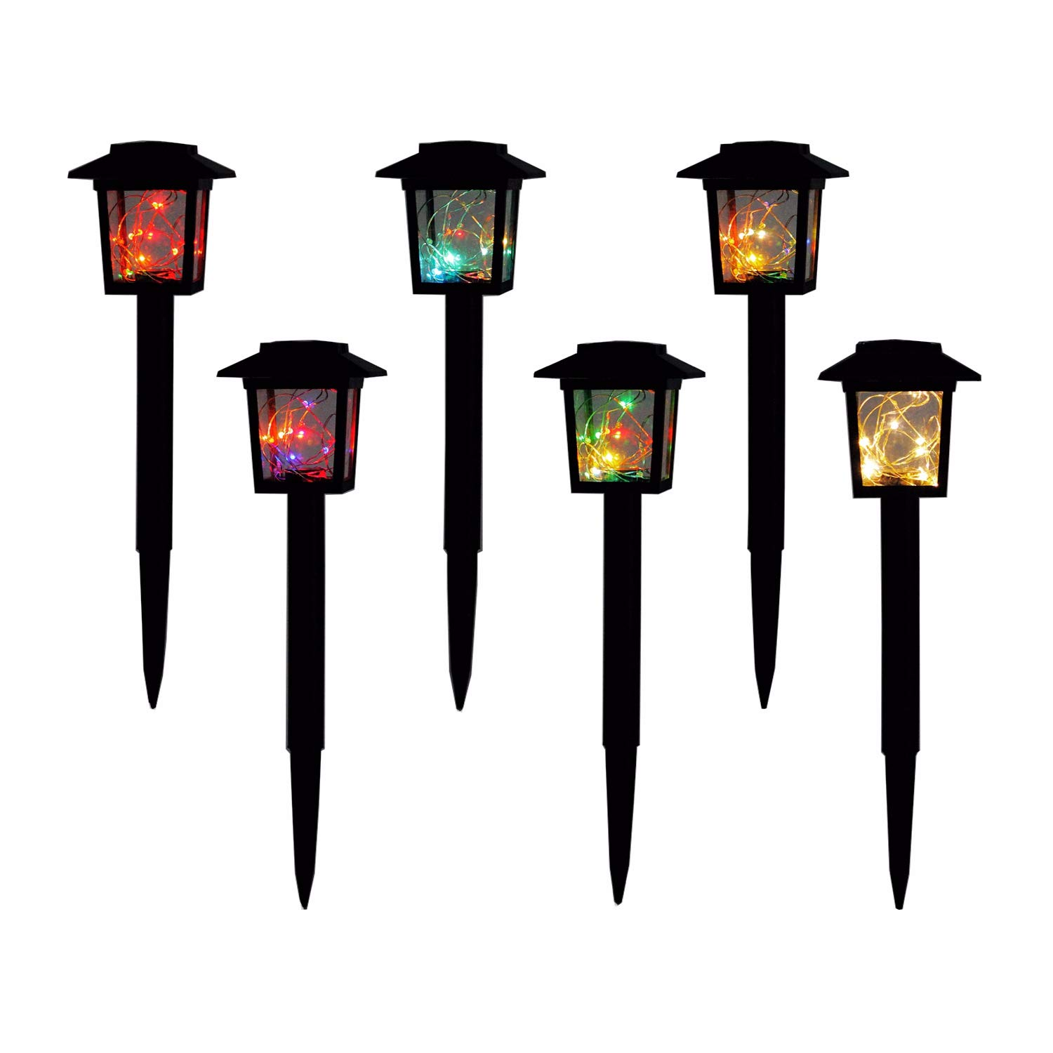 Molcoeur 6 Pack Solar Garden Lights Waterproof Solar Lights Outdoor Solar Stake Landscape Lighting for Pathway Patio Lawn Yard Driveway Wkway(Warm White/Color Changing)