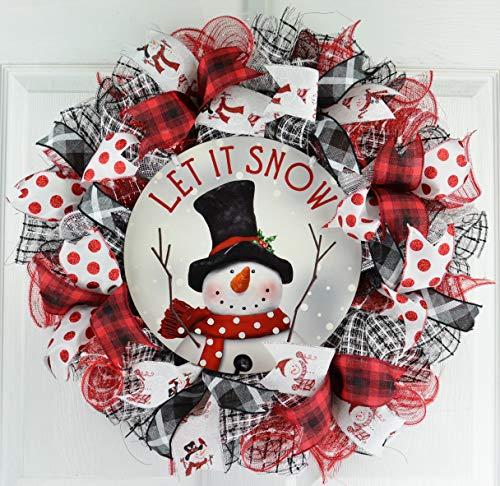 Snowman Door Wreath - Snowman Wreath   Let It Snow Christmas Mesh Outdoor Front Door Wreath; White Red Black